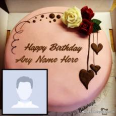 Remarkable Birthday Cake With Photo And Name Editor Online Personalised Birthday Cards Arneslily Jamesorg