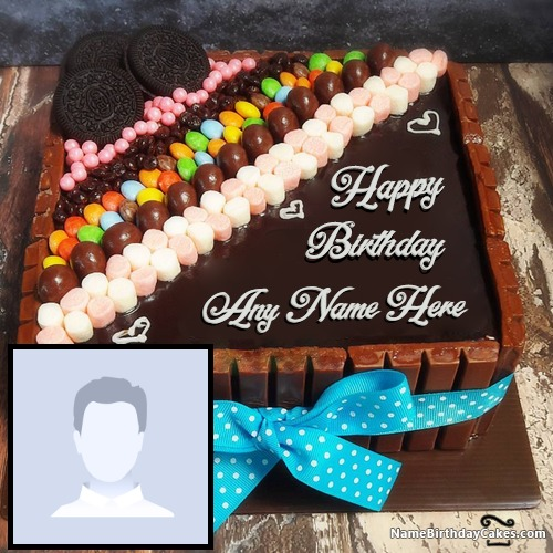 Incredible Happy Birthday Chocolate Cake With Photo And Name Funny Birthday Cards Online Fluifree Goldxyz
