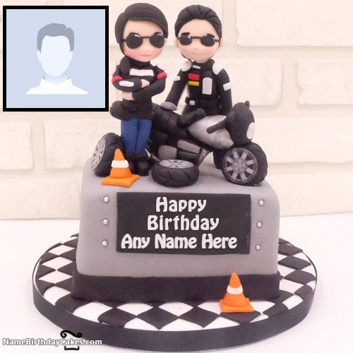 Motorbike Cake For Boys With Photo And Name
